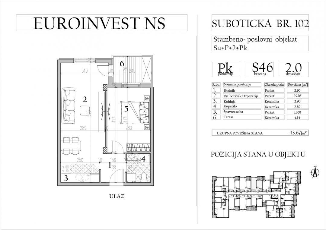 Stan 46 – dvosoban, 43,67m2 – cena 1.700,00-EURA/m2 sa uračunatim PDV-om