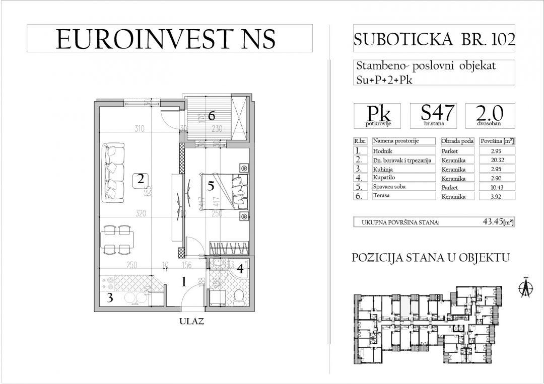 Stan 47 – dvosoban, 43,45m2 – cena 1.700,00-EURA/m2 sa uračunatim PDV-om