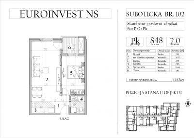 Stan 48 – dvosoban, 43,45m2 – cena 1.700,00-EURA/m2 sa uračunatim PDV-om