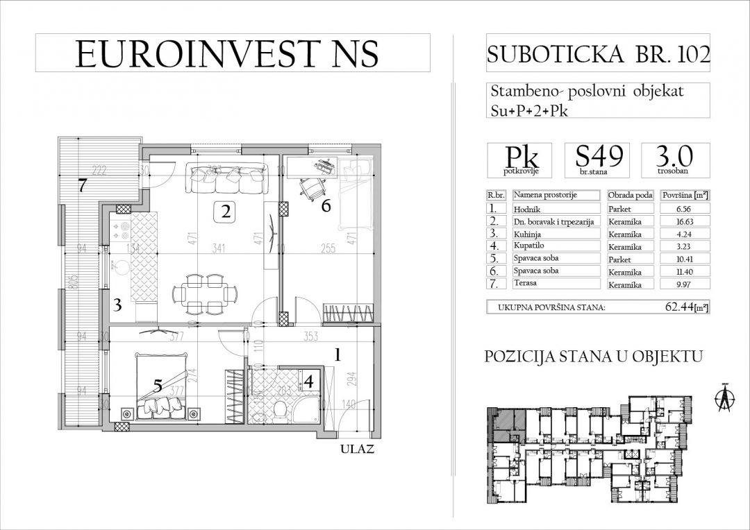 Stan 49 – trosoban, 62,44m2 – cena 1.600,00-EURA/m2 sa uračunatim PDV-om