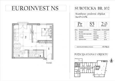 Stan 5 – dvosoban, 41,09m2 – cena 1.700,00-EURA/m2 sa uračunatim PDV-om