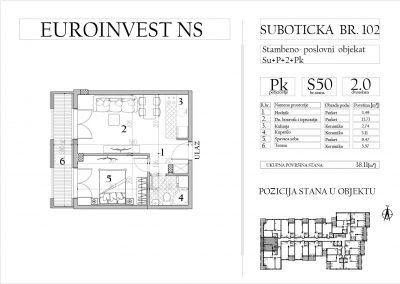Stan 50 – dvosoban, 38,11m2 – cena 1.750,00-EURA/m2 sa uračunatim PDV-om