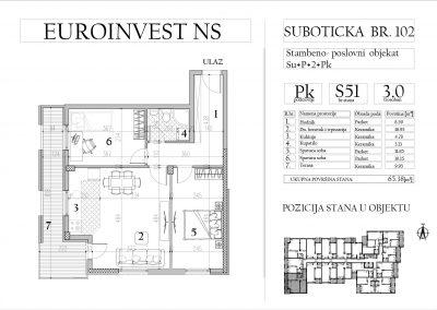 Stan 51 – trosoban, 65,38m2 – cena 1.550,00-EURA/m2 sa uračunatim PDV-om