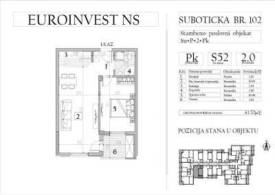 Stan 52 – dvosoban, 43,52m2 – cena 1.700,00-EURA/m2 sa uračunatim PDV-om