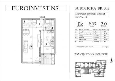 Stan 53 – dvosoban, 43,71m2 – cena 1.700,00-EURA/m2 sa uračunatim PDV-om