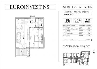 Stan 54 – dvosoban, 39,50m2 – cena 1.750,00-EURA/m2 sa uračunatim PDV-om