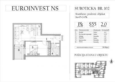 Stan 55 – dvosoban, 39,19m2 – cena 1.650,00-EURA/m2 sa uračunatim PDV-om