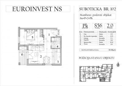 Stan 56 – dvosoban, 38,66m2 – cena 1.750,00-EURA/m2 sa uračunatim PDV-om