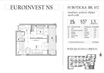 Stan 57 – jednoiposoban, 43,07m2 – cena 1.750,00-EURA/m2 sa uračunatim PDV-om