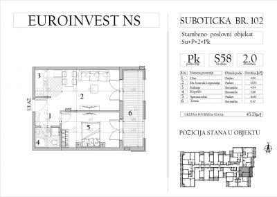 Stan 58 – dvosoban, 45,15m2 – cena 1.700,00-EURA/m2 sa uračunatim PDV-om