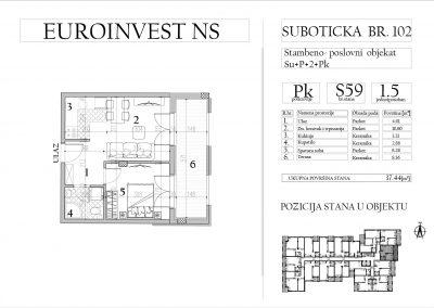 Stan 59 – jednoiposoban, 37,44m2 – cena 1.750,00-EURA/m2 sa uračunatim PDV-om