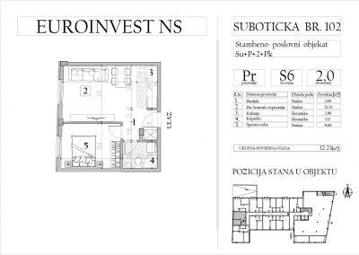 Stan 6 – dvosoban, 32,23m2 – cena 1.750,00-EURA/m2 sa uračunatim PDV-om