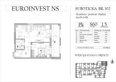 Stan 60 – jednoiposoban, 43,89m2 – cena 1.700,00-EURA/m2 sa uračunatim PDV-om