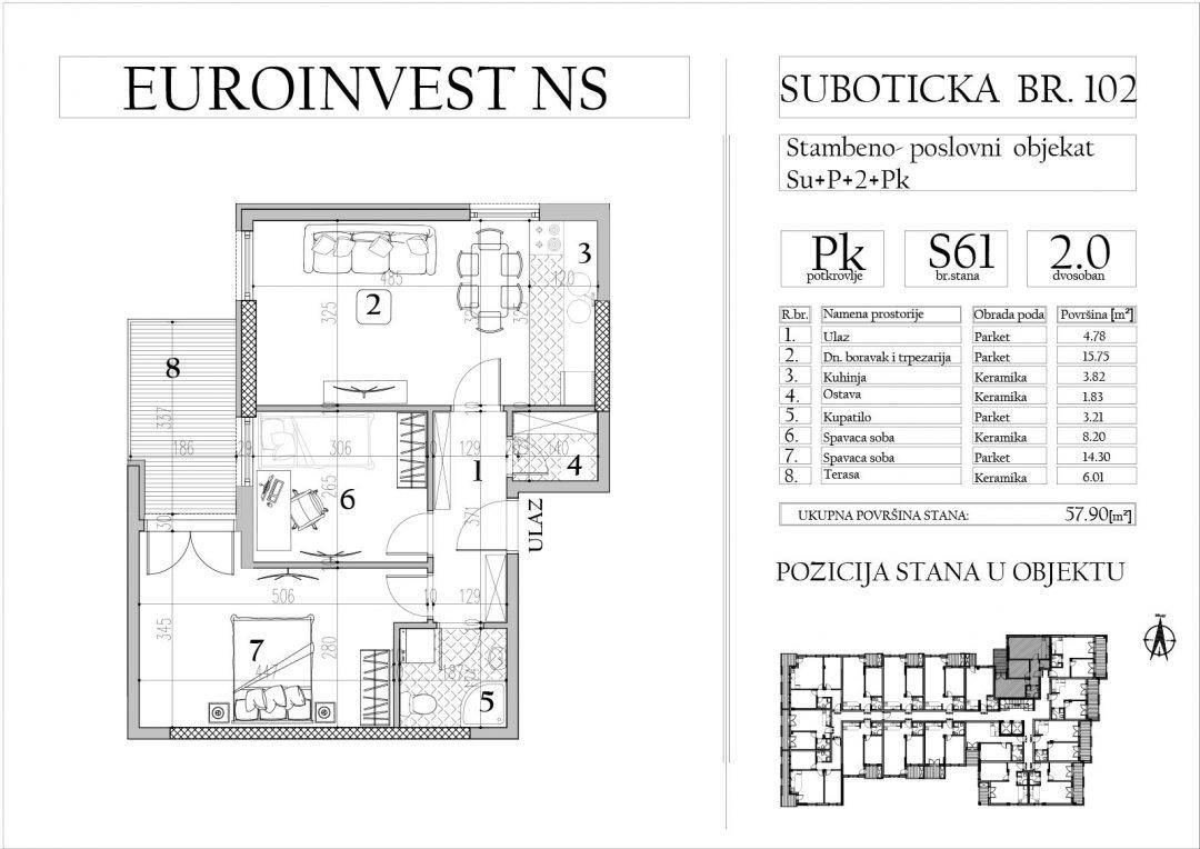 Stan 61 – dvosoban, 57,90m2 – cena 1.650,00-EURA/m2 sa uračunatim PDV-om