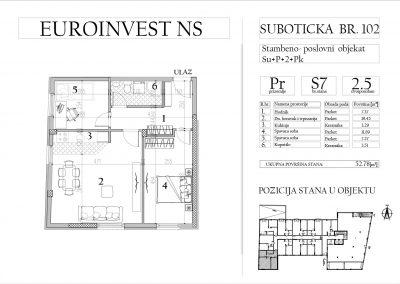 Stan 7 – dvoiposoban, 52,78m2 – cena 1.650,00-EURA/m2 sa uračunatim PDV-om