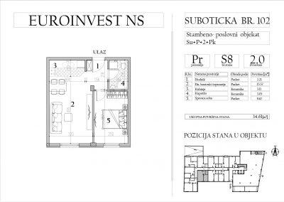Stan 8 – dvosoban, 34,61m2 – cena 1.750,00-EURA/m2 sa uračunatim PDV-om