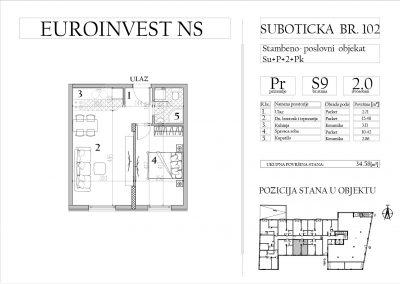 Stan 9 – dvosoban, 34,58m2 – cena 1.750,00-EURA/m2 sa uračunatim PDV-om