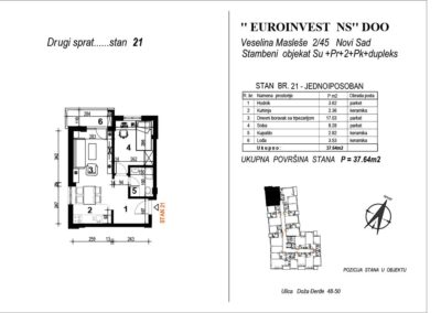 STAN 21 – jednoiposoban 37,64m2 – cena 2200€ sa uračunatim PDV-om