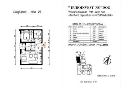 STAN 22 – jednoiposoban 37,54m2 – cena 2200€ sa uračunatim PDV-om