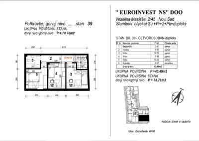 Stan 39 – četvorosoban – dupleks 78,76m2 – cena 1.600,00-EURA/m2 sa uračunatim PDV-om
