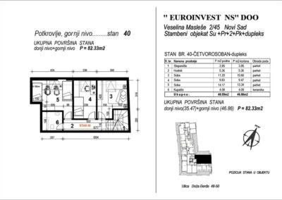 Stan 40 – četvorosoban 82,33m2 – cena 1.600,00-EURA/m2 sa uračunatim PDV-om